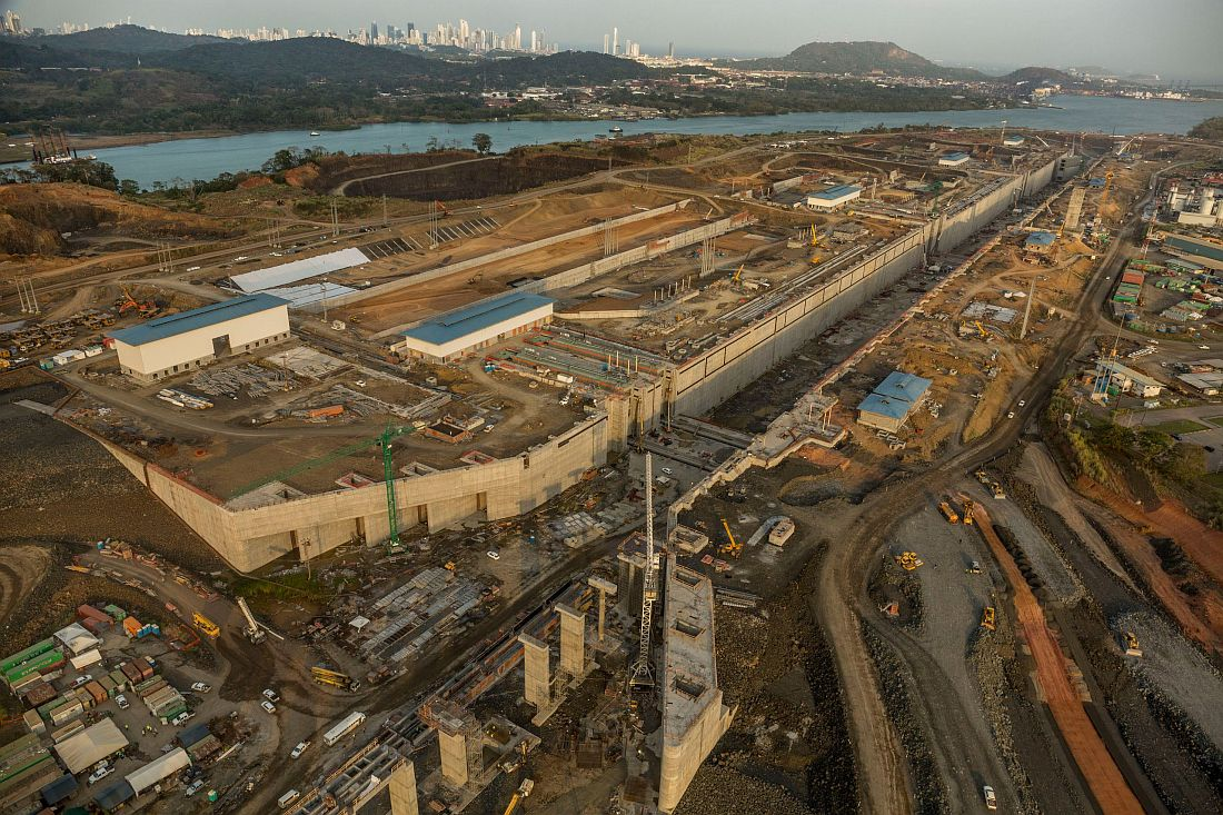View of the Panama Canal Expansion project on Pacific side. April 23, 2015.