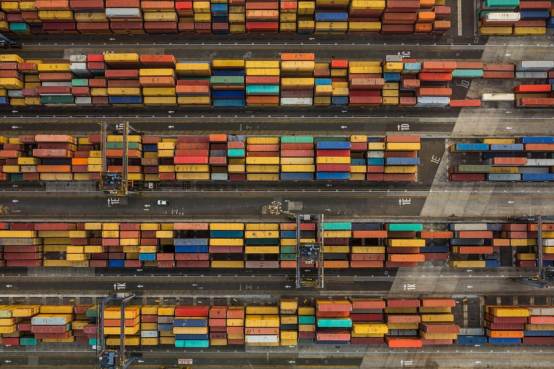 Container cargo yard on the Panama City side of the canal, where containers are transported by rail across the Isthmus of Panama. April, 22, 2015.