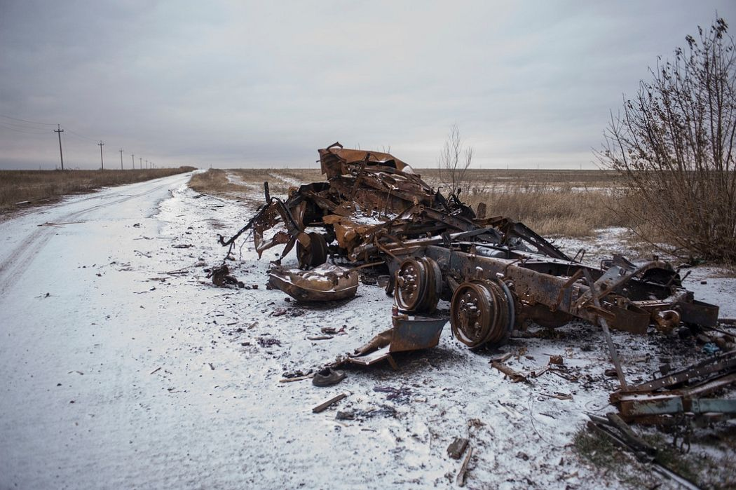 UKRAINE. Hrashevatoe, East Ukraine. November 28, 2014. A destroyed Ukranian tank near the airport where the Ukranian Army had stayed during the summer siege.