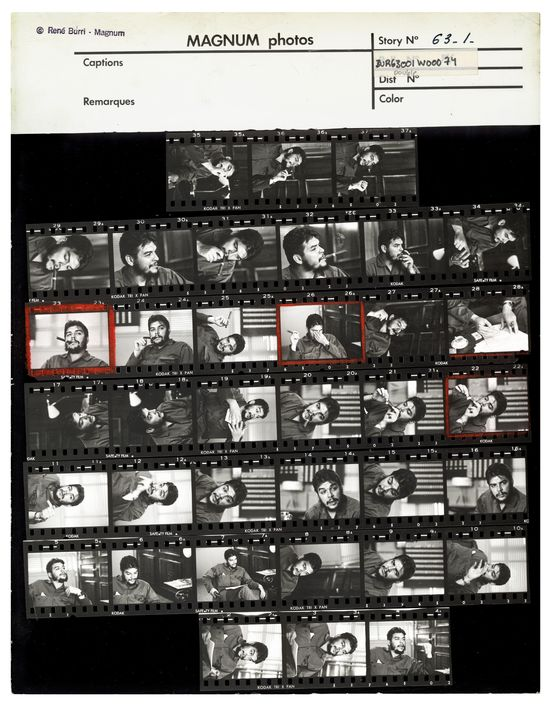 CUBA. Havana. Ministry of Industry. Ernesto GUEVARA (Che), Argentinian politician, Minister of industry (1961-1965) during an exclusive interview in his office. Contact sheet. 1963.