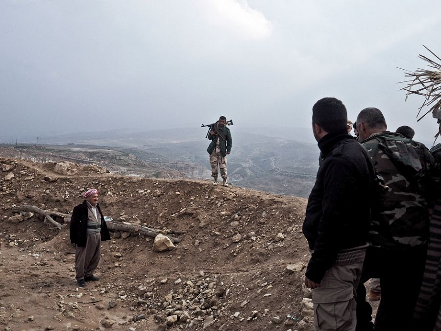 IRAQ. Makhmour. November 27, 2014. Iraqi Kurdish peshmerga at their base on a hill overlooking Makhmour, a town the Kurds recently recaptured from the Islamic State.