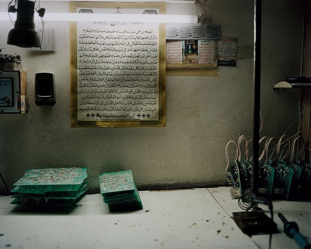Lahore, Pakistan. In a bulk warehouse of used electronic components, printed circuit boards waiting to be processed.