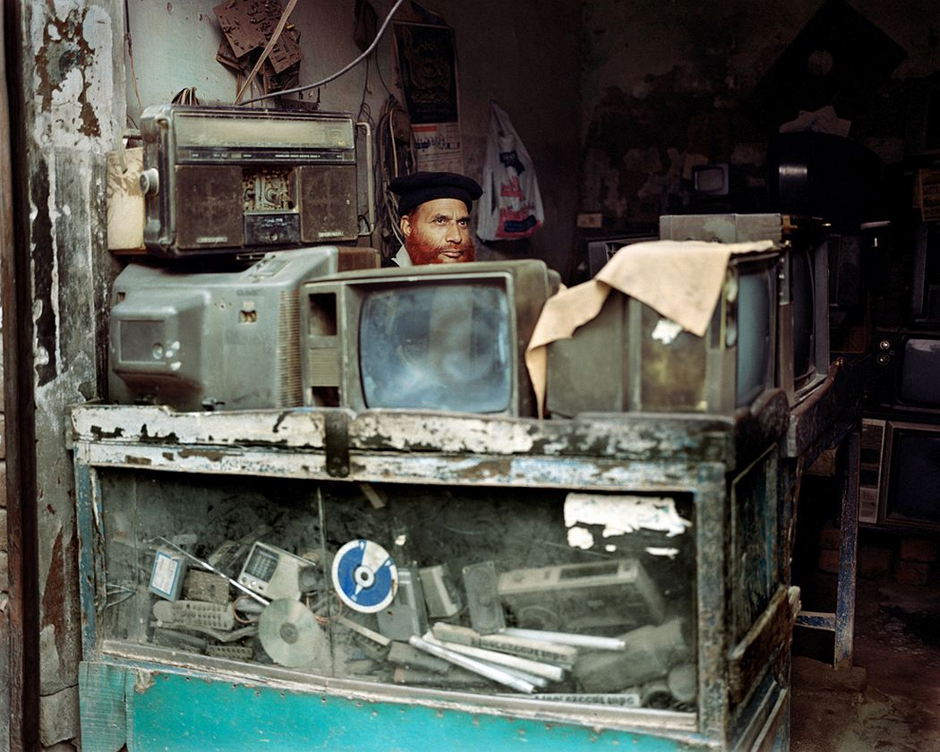 Shahdara, Lahore, Pakistan. Outdated electronic equipments are resold in a small retail shop. Old cathode ray tube televisions, old radios and recorders imported mostly from China, constitute for a good portion of the population the access to new forms of communication before unapproachable, even though bringing with them high risks to human health and environment.