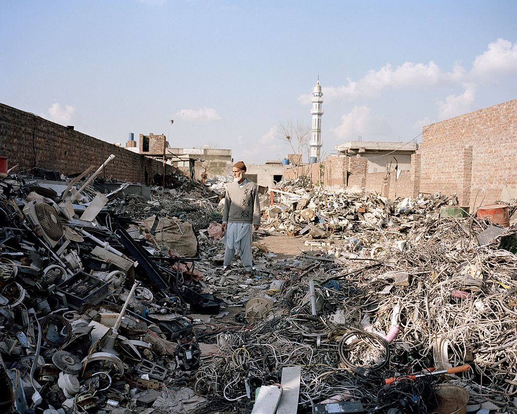 Lahore, Pakistan. An electronic and electrical waste collection area on the outskirts of Lahore. In this place small business owners look for waste that they can use for recycling and waste disposal purposes or that contain precious metals.
