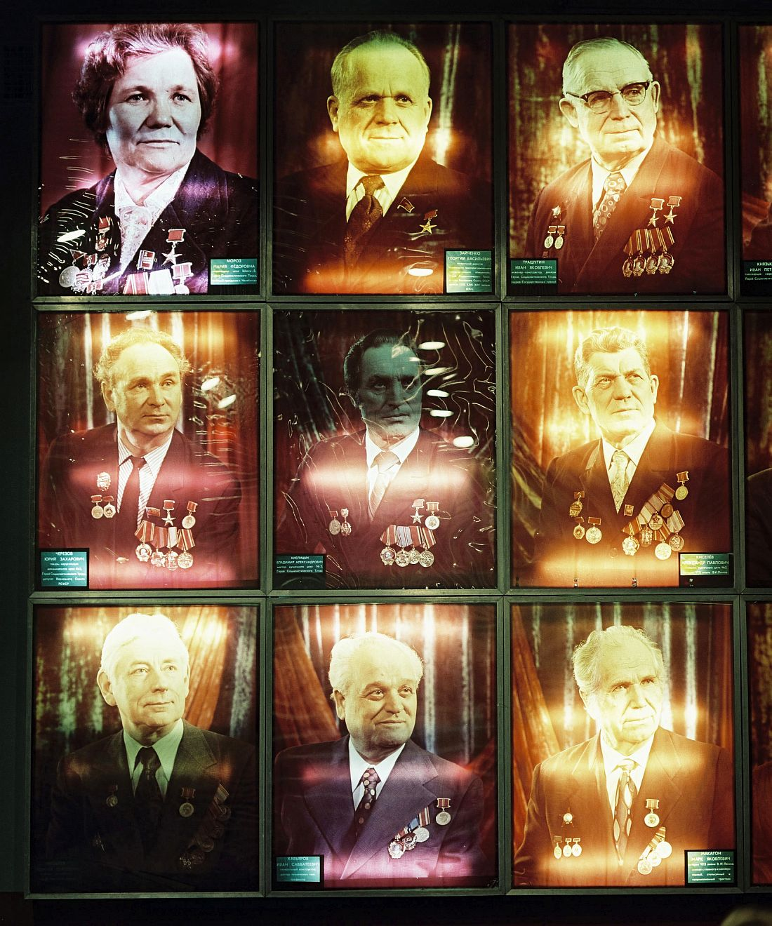 Chelyabinsk, RUSSIA, 2003 - Wall with decorated veterans in the museum of the Tractor factory where they produced tanks during WWII (The Great Patriotic War 1941 - 1945)..© ROB HORNSTRA / +31 6 14365936