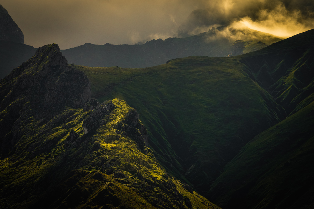 Illuminated mountains, Basque Country, Spain