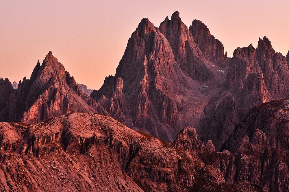 Berge wie Märchenschlösser, Cadini-Gruppe, Dolomiten, Südtirol, Italien