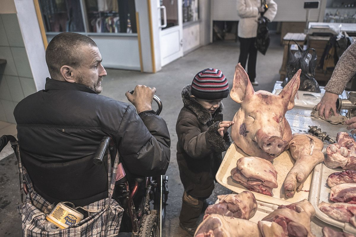Most of the city market folk know Ruslan, and have been helping him and his son for a number of years by putting together some groceries and small amounts of Money for them.