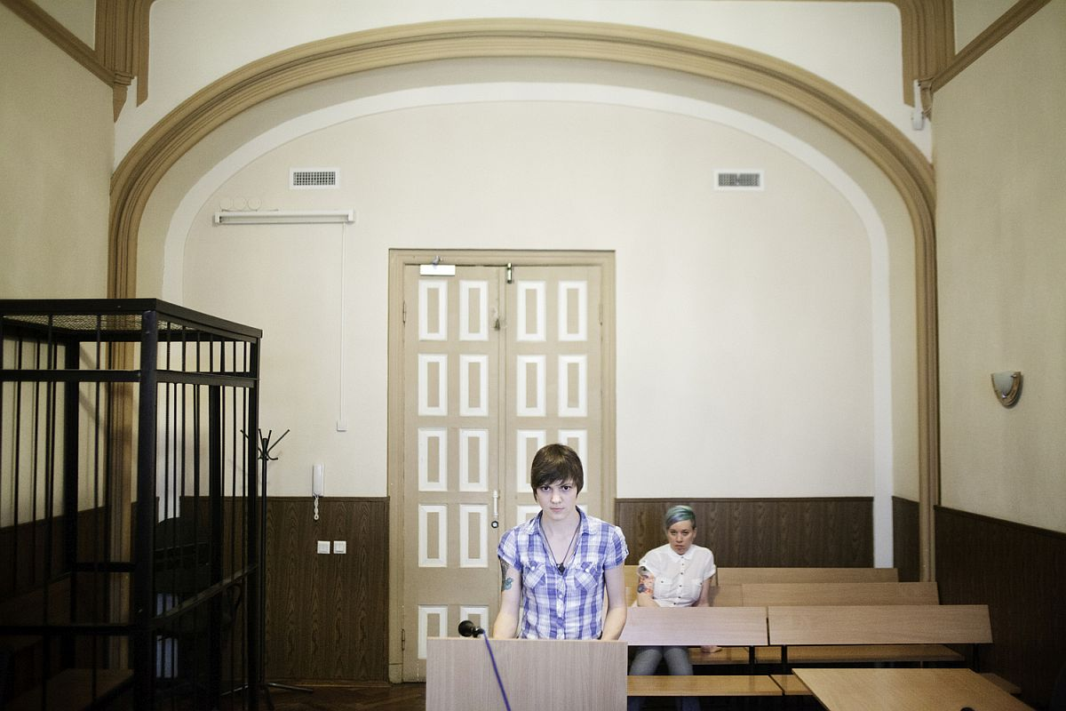 "Ekaterina Alekseeva, 21, appears in court after being arrested at a Gay Pride Rally on 29 June 2013. The rally was declared illegal under the law banning ""propaganda for non-traditional sexual relations"" and Ekaterina Alekseeva is now facing the consequences. The so-called ""gay-propaganda"" law was introduced locally in St. Petersburg in 2012. The day before this picture was taken, President Putin signed it into law nationwide."