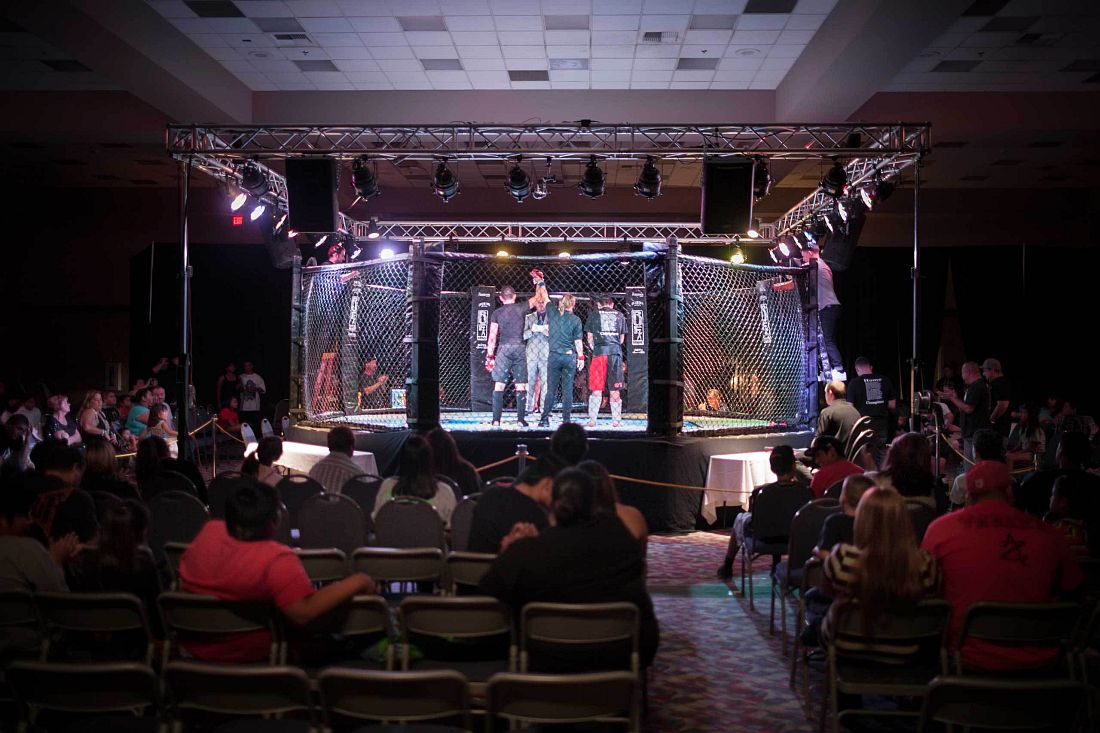 Youth Mixed Martial Arts fighters in the octagon in United States Fight League(USFL) All-star Pankration show at Blue Water Casino in Parker, Arizona on 25th of October 2013. Photo: Miikka Pirinen
