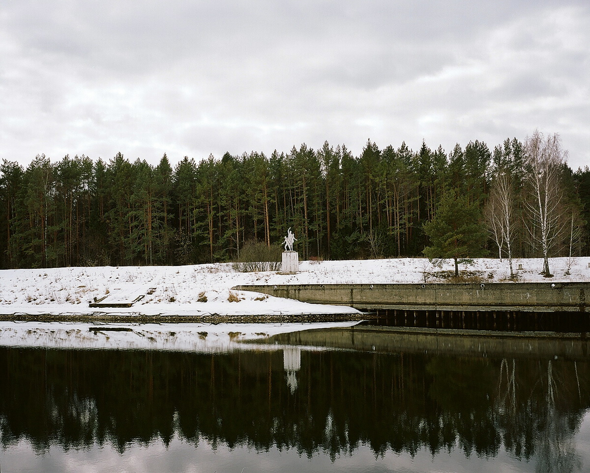 Soviet sculptures on Moscow canal in Orevo, Moscow region
