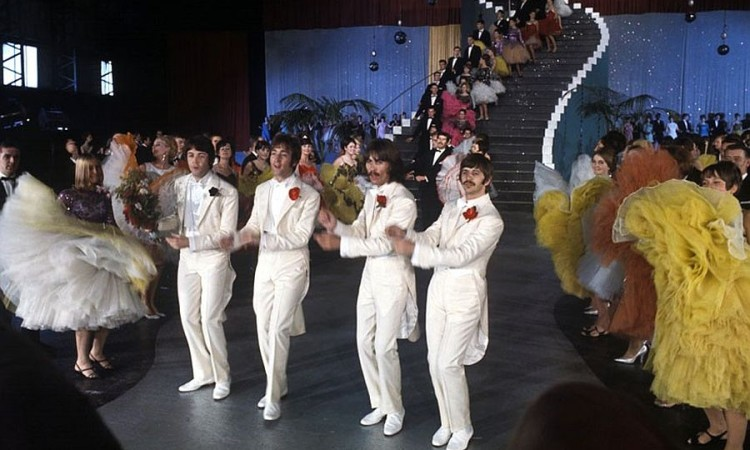 The Beatles during the 'Magical Mystery Tour' in 1967