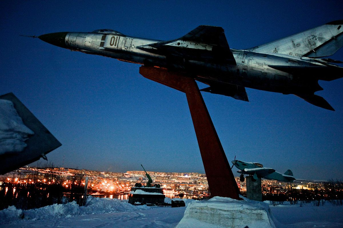 A WWII monument stands above Murmansk, the world's largest Arctic city and a vital industrial and shipping hub. The city became an important military base during the Cold War with Finland and Norway just across the border, March 2010.